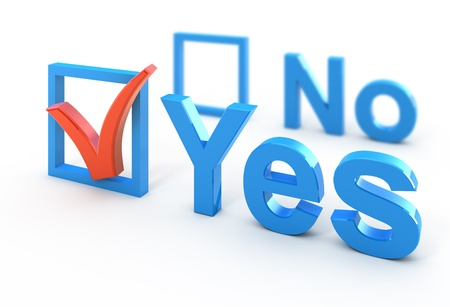 yes icon: Voting concept 3d illustration isolated on white