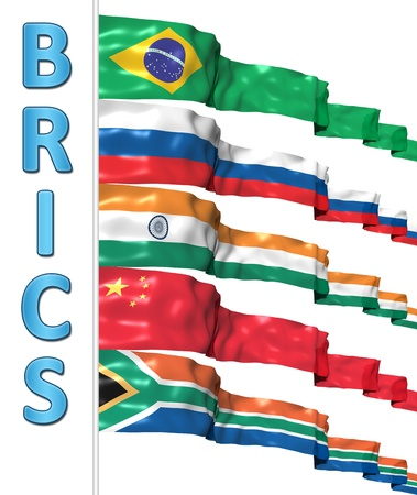 BRICS concept isolated on white Stock Photo