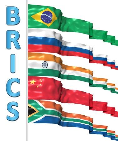 BRICS concept isolated on white Foto de archivo