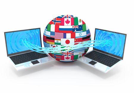 Computer downloading data 3d concept illustration illustration