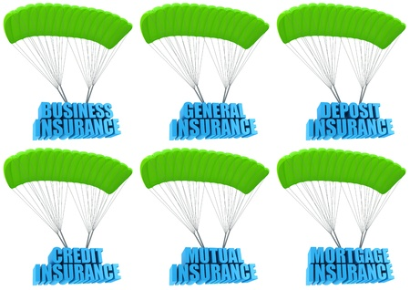 general insurance: Types of business insurance 3d concept illustration set isolated on white