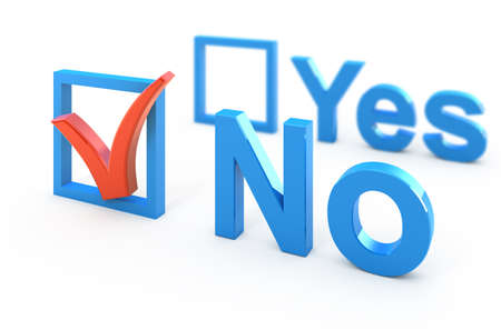 yes no: Voting 3d concept illustration isolated on white