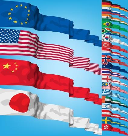 Set of world flags.  Illustration