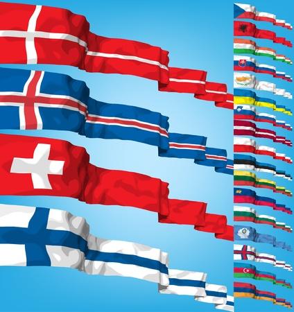 czech switzerland: Insieme di flag di mondo. Vettoriali