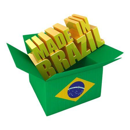 In Brasilien hergestellt. 3D-Illustration Konzept, isoliert auf weiss