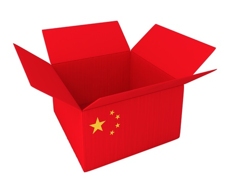 import: Made in China. 3d concept illustration isolated on white