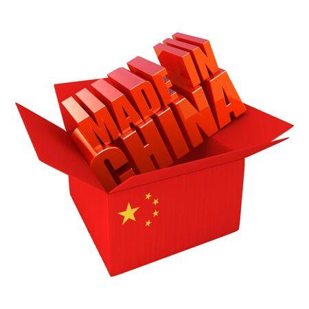 Hecho en China. Ilustración concepto 3D aislado en blanco Foto de archivo