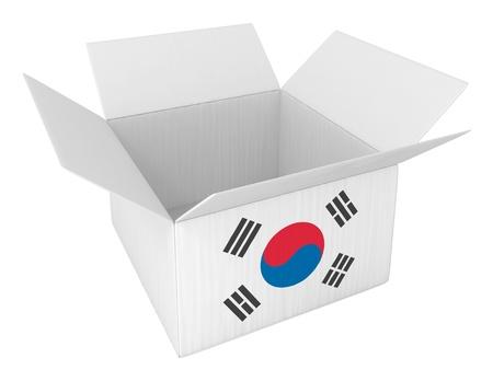 Gemacht in Korea Boxen Container Terminal, isoliert auf weiss Lizenzfreie Bilder