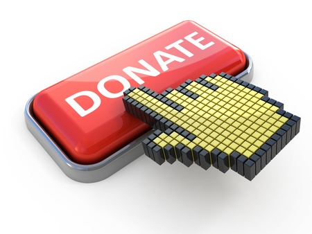 donating: Donate web button. Computer icon isolated on white