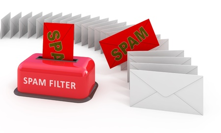 spamming: E-mail spam filter 3d concept
