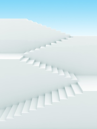 step up: Upstairs growth. Success 3d concept background