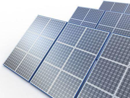 Planta solar. Concepto de energía renovable en blanco