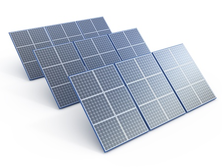 panels: Solar plant. Renewable energy concept on white