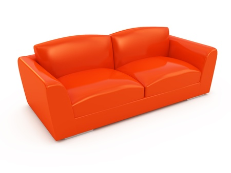 Modern red sofa isolated on white background photo