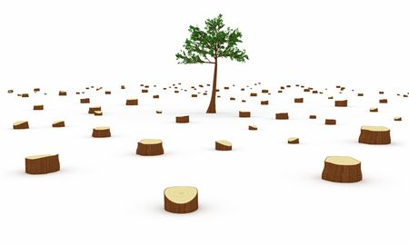 tree felling: Deforestation concept
