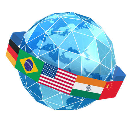 Global network icon isolated on white photo