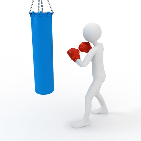 punching bag: Boxer boxing with punching bag. 3d concept illustration on white background Stock Photo