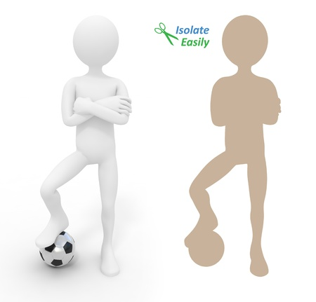 winger: Football player with ball. Isolate easily and paste on any background