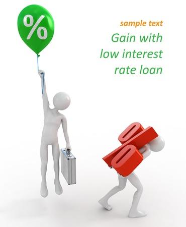 Les hommes d'affaires avec des hauts et bas des taux d'intérêt des prêts Banque d'images