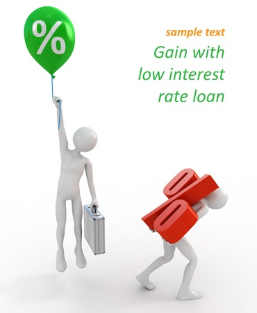 Businessmen with high and low interest rate loans Foto de archivo