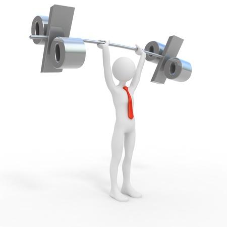 weightlifter: Powerful businessman lift interest rate