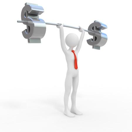 levantamiento de pesas: Poderoso hombre de negocios en d�lares de elevaci�n Foto de archivo