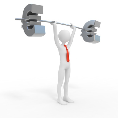 white interest rate: Powerful businessman lift euro Stock Photo