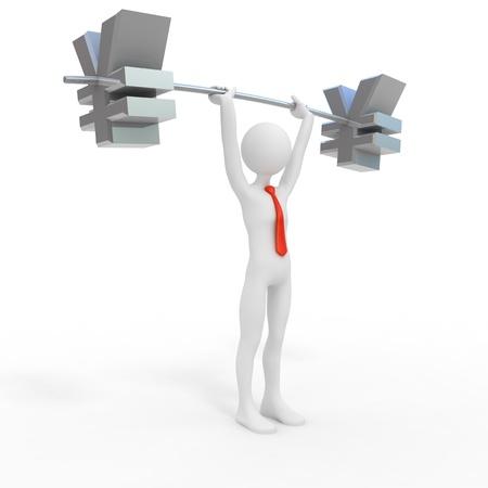 weightlifter: Powerful businessman lift yen