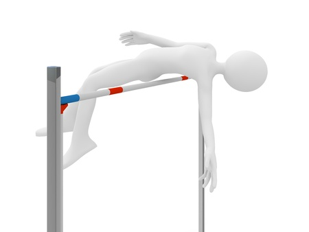 high jump: Athlete jump over barrier