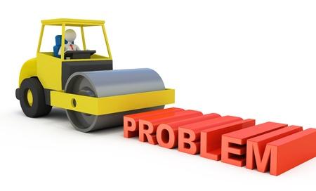 steamroller: Businessman solving the problem