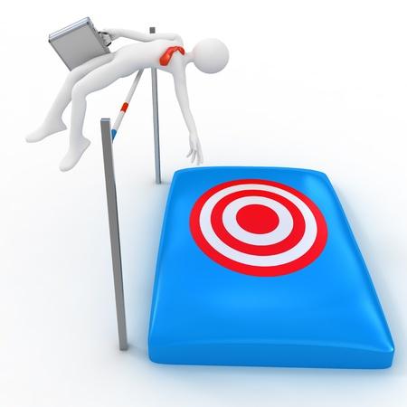 Empresario saltar sobre obstáculos concepto de 3d Foto de archivo - 11064575