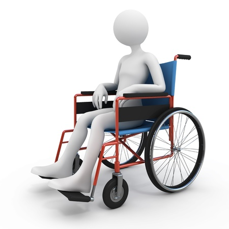 handicapped person: Handicapped person in wheelchair