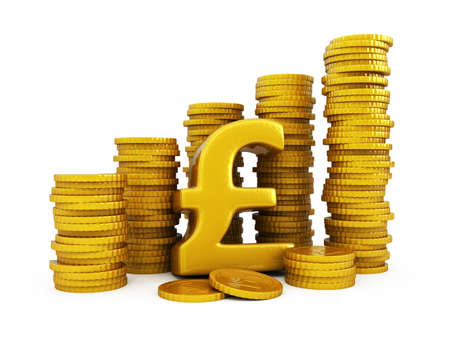 pound sterling: Pound sterling golden coins Stock Photo