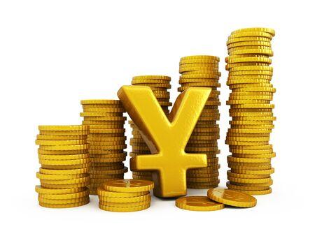 yen sign: Yen golden coins Stock Photo