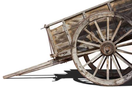 blanco: carruaje antiguo de madera y hierro  Stock Photo