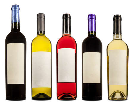 Botellas de vino con la etiqueta en blanco Stock Photo