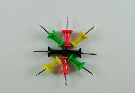 pin board: Board pin tacks arranged radiating outward