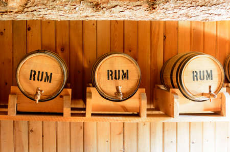Old barrels of wood, used to store rum