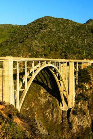 bixby: The Bixby Creek bridge in Big Sur near Monterey, California, during the evening golden hour