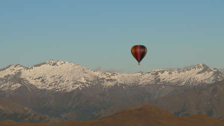 Hot air balloon over the Southern Alps of New Zealand