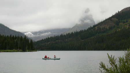 Kayakers on Two Medicine Lake photo