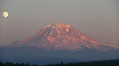 mt rainier: Moonrise over Mt. Rainier