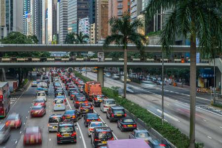 handover: HONG KONG, CHINA - NOV 23 2015: Street traffic jam in Hong Kong, China
