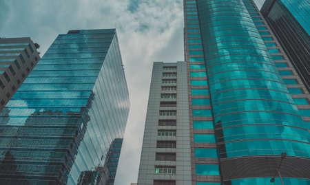 big city: Skyscraper Building and Sky View Scene in Big City