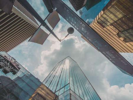 Wolkenkrabber gebouw en Sky View Scene in Big City