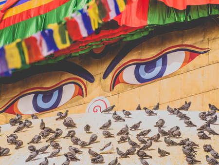 Boudha eyes in Nepal