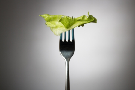 One lettuce leaf on a vertical fork