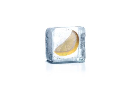 Lemon frozen in ice cube