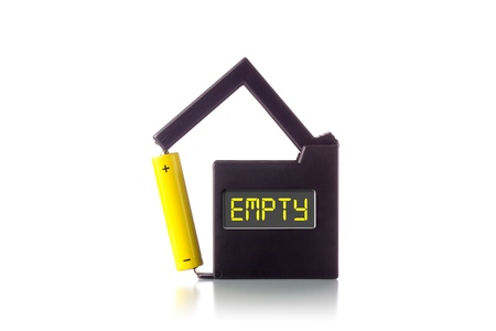 Battery tester showing  EMPTY