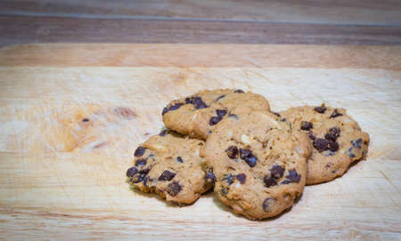 chocolate chip cookies: Chocolate chip cookies on wooden